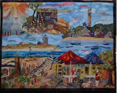 Original Art Quilt by Elspeth Davis Provincetown, a montage created from photographs taken by the artist while visiting family in Provincetown, MA, a seaside community on the tip of the Cape.