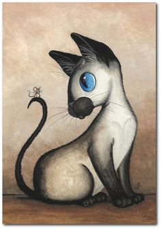 Siamese Cat & Mouse – My Sweet Tiny Friend- Art Prints by Bihrle Siamese Cats, Cats And Kittens, Cat Mouse, Cat Drawing, Whimsical Art, Beautiful Cats, Crazy Cats, Cool Cats, Cat Art