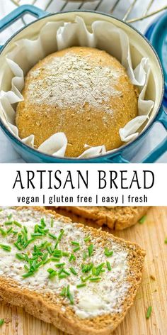 Artisan Bread (one bowl, Dutch oven) - Contentedness Cooking This Artisan Bread is naturally vegan, gluten free and made in the Dutch oven. Gluten Free Artisan Bread, Artisan Bread Recipes, Dutch Oven Recipes, Easy Bread Recipes, Gluten Free Homemade Bread, Meat Recipes, Vegan Bread Machine Recipe, Bread Machine Recipes, Gluten Free Bread Bowl Recipe