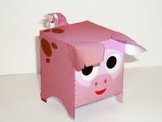 Lots of free papercraft with a good links section. Pig Crafts, 3d Paper Crafts, Paper Toys, Cute Crafts, Crafts For Kids, Summer Crafts, Printable Box, Templates Printable Free, Cow Fish