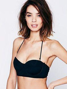 Black Bustier Top | Black bandeau bikini top.  *By Mara Hoffman