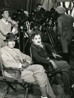 """Charlie Chaplin and his closest friend Douglas Fairbanks - set of Charlies film """"The Circus"""" circa 1927.   Doug passed away of a heart attack in 1939 at the age of 56. InCharlie's autobiography written in the early 1960's he still talked of missing who he called """"the only true friend I ever really had in Hollywood""""."""