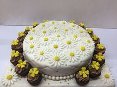 Red Velvet Cake with Quilting and Daisies with Nutella Cupcakes  #buttercupbungalow #cakesfrombuttercupbungalow #creativecakes #designercakes
