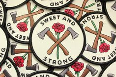 Who said you couldn't be sweet AND strong? 3 inch iron on patch! Shipping comes without a tracking number unless you choose First Class Mail at checkout! Designed by Grace Taylor Pin And Patches, Iron On Patches, Magnus Burnsides, Lizzie Hearts, Waverly Earp, The Adventure Zone, Fire Emblem, Queen, Strong