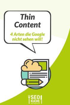 """Content mit Qualität wird immer wichtiger, doch Webseitenbetreiber sollten auch wissen, welche Inhalte von Google als minderwertig betrachtet und daher im schlimmsten Fall sogar abgestraft werden.Dies wird von Google als """"Thin Content"""" bezeichnet. Mehr dazu erfahrt ihr in unserem Blogbeitrag! #onlinemarketing #seokueche #thincontent #google #seo Online Marketing, Google, Search Engine Optimization"""