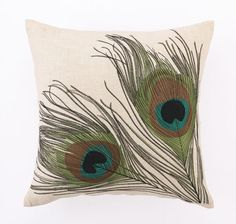 "Classic tale of two feathers. Rich Peacock fronds embroidered on a linen cloth. Measures: 16"" x 16"""
