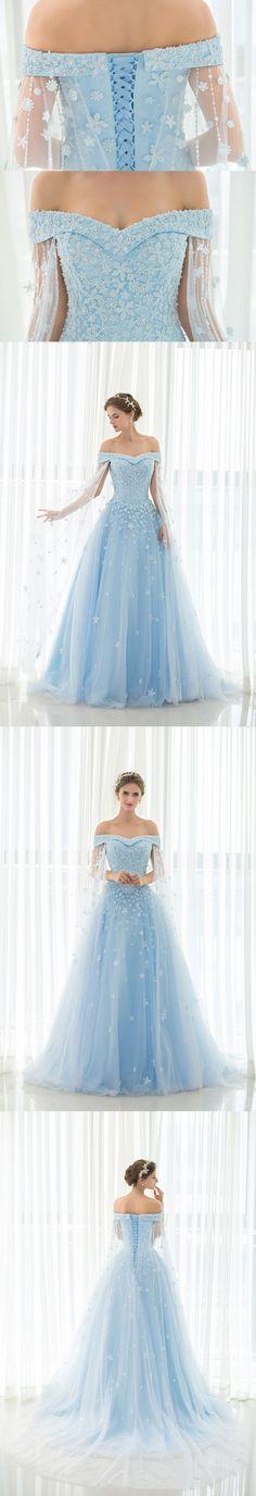 Light Sky Blue Prom Dresses Off-the-shoulder Sweep/Brush Train Tulle Prom Dress/Evening Dress JKL166