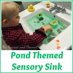 Frog Pond Theme sensory activity for toddlers or preschoolers.
