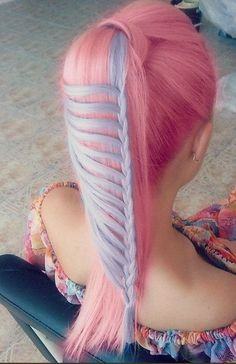 Pink and Blue dyed hair hairstyle braid colored cute fairy kei