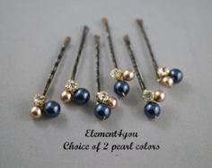 Algo azul novia nupcial pelo las horquillas Clips por Element4you