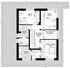 Rzut piętra projektu Orkan Double Garage, Modern House Design, Modern Architecture, Planer, Diy Home Decor, House Plans, Facade, Floor Plans, Construction