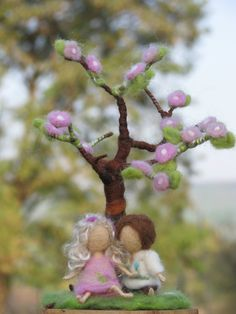 Needle felted spring tree decoration waldorf door Made4uByMagic