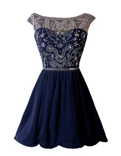 Navy Blue Prom Dress,Beaded Prom Dress,Fashion Homecoming Dress,Sexy