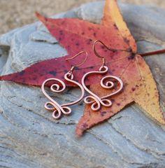 Celtic Heart Earrings Copper Wire Jewelry by Karismabykarajewelry