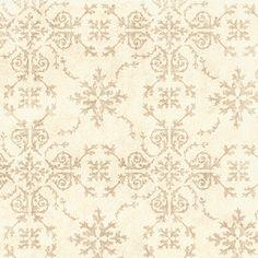 Victorian Damask Wallpaper ivory cream camel sand gold