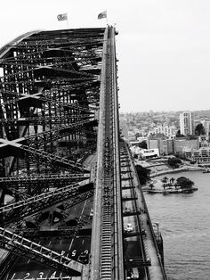 Sydney Harbour bridge - Absolutely stunning location, watching people take on the Sydney harbour bridge climb. Breathtaking view. Gorgeous city! And all in black and white!!