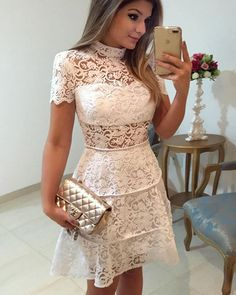 A-Line Party Dresses, Lace White Homecoming Dresses, High Neck Homecoming Dresses, Homecoming Dresses White, Lace Party Dresses Homecoming Dresses 2018 Dresses For Teens, Trendy Dresses, Sexy Dresses, Short Sleeve Dresses, Short Sleeves, 1960s Dresses, Lace Sleeves, Lace Party Dresses, Lace Dress