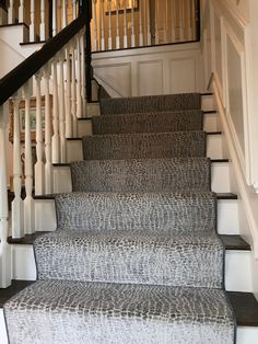 Featured project of the week is this stair and hall runner in Wellesley. This client was so fun to work with! She wanted something with a… Stair Rug Runner, Staircase Runner, Hall Runner, Stair Rugs, Carpet Runner, Stair Runners, Runner Rugs, Contemporary Stairs, Modern Stairs