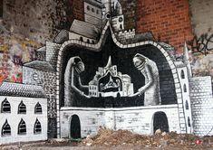 Street art by Phlegm in Sheffield, United Kingdom Street Art Banksy, Street Mural, Graffiti Artwork, Mural Art, Art Manifesto, Black And White Artwork, Modern Metropolis, Street Artists, Public Art