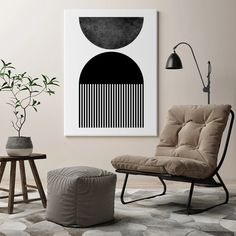 Mid Century Modern Art, Mid Century Modern Walls, Black And White Canvas, Wall Canvas, Large Poster Prints, Modern Prints, Modern, Living Room Art, Traditional Picture Frames