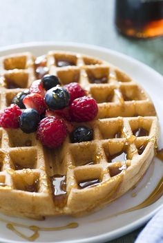 Whole Wheat Waffles   Recipe  [I LOVED these--added an extra 1 1/2 tsp. sugar and 1 1/2 tsp. vanilla.  Easy and quick.]