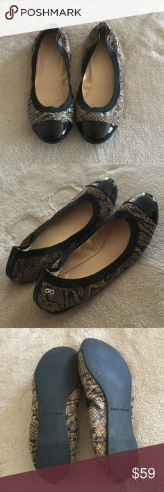 Cole Haan Flats Elastic stretch slip into flats by Cole Haan in print with black trim! Perfect shoe...too small, tried to wear them twice! Sadly need to sell! Cole Haan Shoes Flats & Loafers