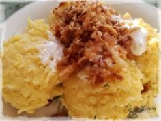 Polenta és hagyma crispy | Gyöngy Harmony Stúdió Polenta, Mashed Potatoes, Grains, Ethnic Recipes, Food, Meal, Essen, Hoods, Meals