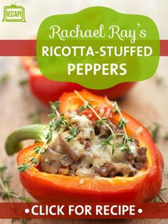 Rachael Ray showed how to make her Week in a Day big batch of Ratatouille, which can be turned into other entrees like a Ricotta-Stuffed Peppers Recipe. http://www.recapo.com/rachael-ray-show/rachael-ray-recipes/rachael-ray-ratatouille-ratatouille-ricotta-stuffed-peppers-recipe/