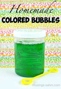 Homemade Colored Bubbles for kids: Never run out of bubbles again with this simple homemade recipe, plus the colors are even more fun!