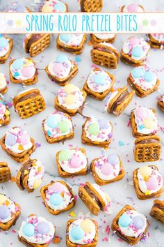 Spring Rolo Pretzel Bites – Rolo candies sandwiched between two pretzel snaps and topped with white chocolate, pastel M