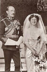 Prince Arthur of Connaught and Princess Alexandra on their wedding day.