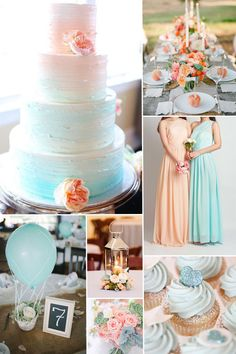 sky blue and peach bridesmaid dress styles and wedding color ideas