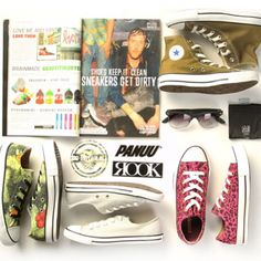 For party people who dont mind getting their sneakers dirty. #converse #allstars #chucktaylor #iconeyewear #sunglasses #rook #panuu #streetwear #stickers #sneakers #olive #cheetah #hawaii #print #spring #gobritain #nofilter