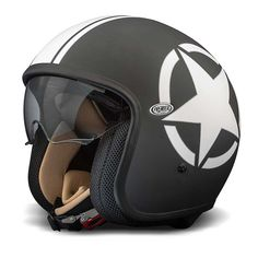 Premier Jet Vintage Helmet - Black / White Star | Open Face Motorcycle Helmets | FREE UK delivery - The Cafe Racer