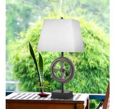 Kenroy Home Movement Table Lamp in Weathered Steel Finish