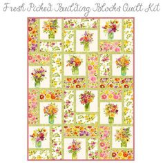 Fresh Picked Building Blocks Quilt Kit from Clothworks | Fort Worth Fabric Studio