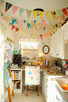 The Rosy Life: Craft Room Tour    Love the pennants!