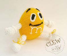 Yellow Candy Handmade Crocheted Soft Toy Amigurumi by Clewinhand