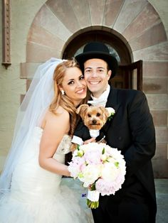 Bride and Groom with their Dog: Photo by Limelight Photography via Heather Renee Celebrations