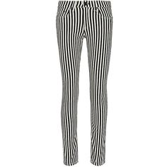 Rag & Bone Bengal Stripe Capri ($185) ❤ liked on Polyvore featuring pants, capris, white trousers, cropped capris, zipper pants, capri pants and white skinny pants