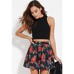 Forever 21 Women's  Quilted Floral Skirt ($18) ❤ liked on Polyvore featuring skirts, cotton skirt, full length skirt, floral print skirt, black cotton skirt and floral printed skirt