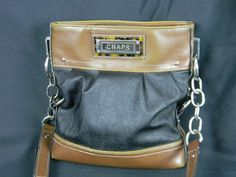 Chaps Tortoise Shell Logo Cross Body Purse Handbag Black & Brown Silver Fittings  | eBay