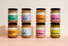 Australian agency Swear Words created the design for these minimal and   colorful butters. The bright colors attract the attention of the consumer   while the typography stands out with plenty of room to breathe.