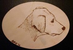 CUSTOM Wood burned Pet Portrait on Oval Wooden by AngelaMCreations