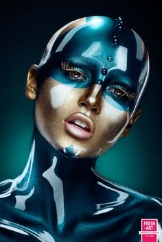sarah-steller: Make-up artist - Olga Sinegina Photographer - Yuri Taldikin Robot Makeup, Yuri, Futuristic Makeup, Bald Cap, Make Up Gesicht, Make Up Art, Cyberpunk Art, Too Faced, Fantasy Makeup