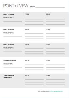Creative Writing Worksheet - Point of View