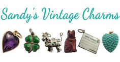 Selling genuine vintage and antique charms, including gold, silver, Victorian love tokens, shield and travel charms, Czech glass charms and puffy heart charms.