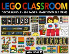~I'd Rather Doodle~ *HUGE* LEGO CLASSROOM DECOR AND PARTY BUNDLE Printable • 120 Pages • High Resolution • Many Editable Pages Description: --------------------------------------------------------------- This HUGE Lego inspired classroom decor and party bundle with chalkboard design includes everything you need for