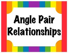 Geometry Angle Pair Relationship Posters