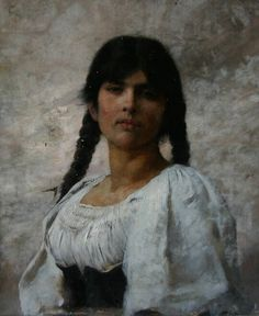 Charles Sprague Pearce (1851-1914) Portrait of a Young Woman.